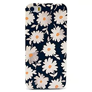 Iphone 5c Case, JAHOLAN White Daisy Clear Bumper Hard Plastic Case Silicone Skin Cover for Apple Iphone 5C