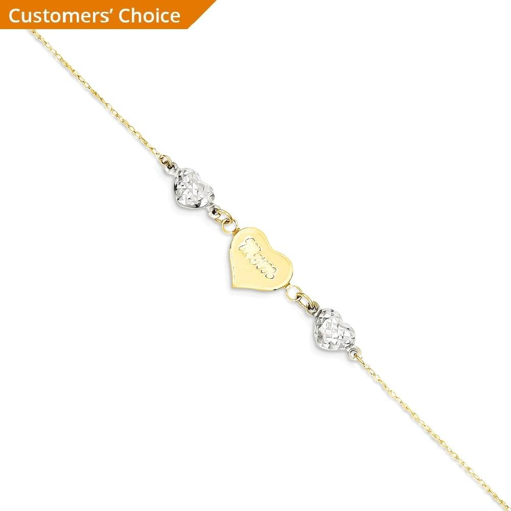 ICE CARATS 14k Two Tone Yellow Gold Hearts Mom 1 Inch Adjustable Chain Plus Size Extender Anklet Ankle Beach Bracelet Fine Jewelry Gift Set For Women Heart by ICE CARATS (Image #2)