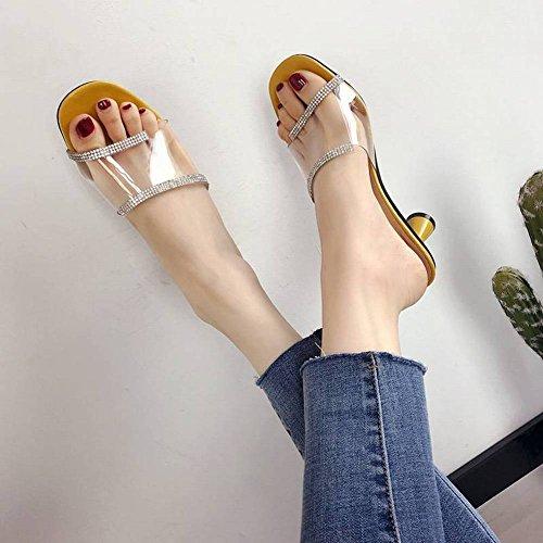 Zapatilla Femenina Desgaste Exterior en Forma de Diamantes de Imitación Transparente Flip Flops Zapatos Romanos Vacaciones Playa Sandalias Y Zapatillas un Tipo Adulto Plástico Caucho Talón (3-5Cm) Dia