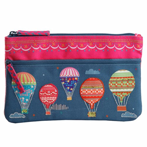 - Two zipper multifunction fabric pouch purse case bag organizer travel cosmetic toiletry wallet card holder pen