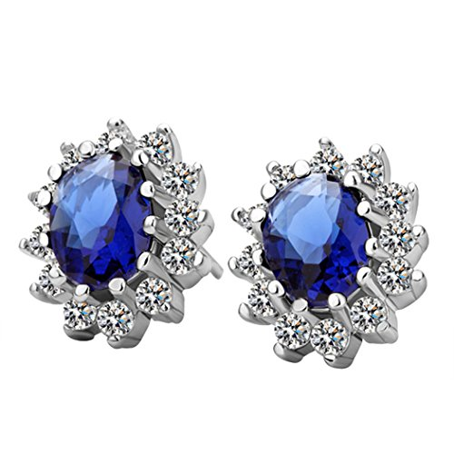 Duo La Elegant Blue Cubic Zirconia Sunflower Charm Princess Stud Earrings