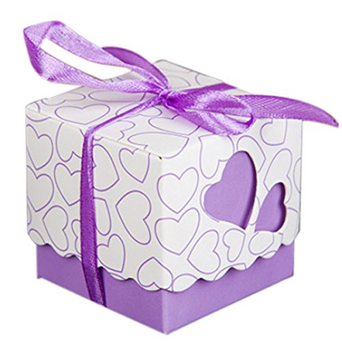 KAIL DIY Love Heart Candy Gift Boxes Wedding Bridal Favor Wedding Party Decor Kit 50pcs Purple