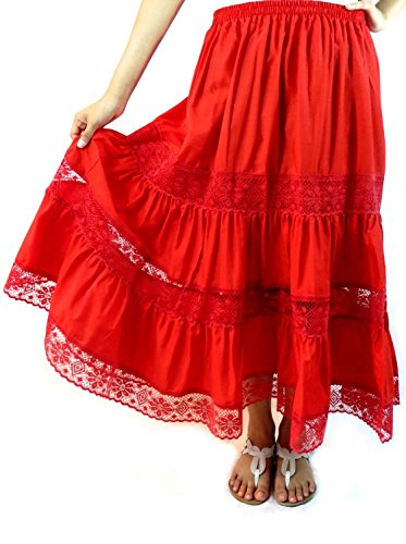 Mexican Peasant Skirt - One Size (Red) (Mexican Ladies Costume)