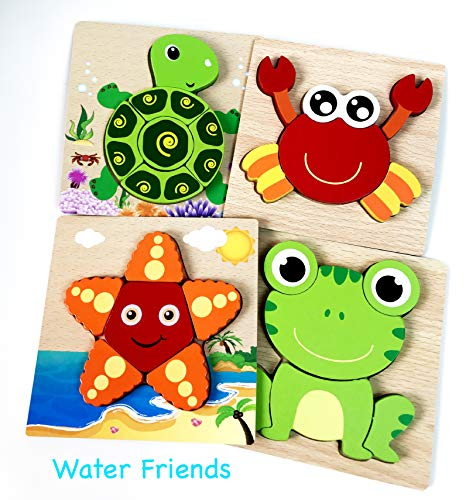 Puzzles for Toddlers by Bib & Toys, Wooden Puzzles for Toddlers Includes 4 pc Set (Kids Educational Toys) Water Animals