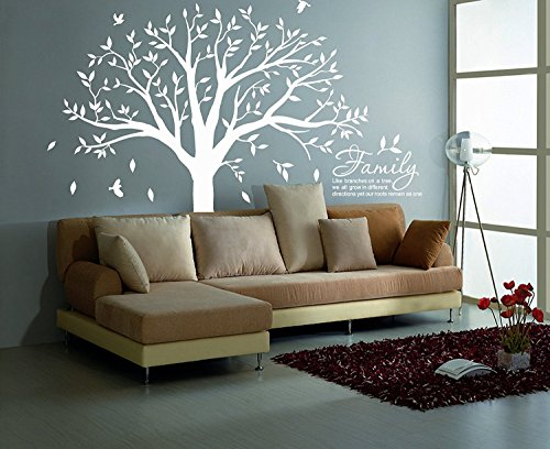 MAFENT Family Tree Wall Decal Quote- Family Like Branches On A Tree Lettering Tree Wall Sticker for Bedroom Decoration (White) by MAFENT (Image #3)