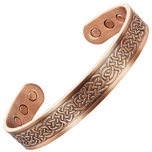 Mens Womens Adjustable Copper Magnetic Bracelets for Arthritis Pain Relief Carpal Tunnel Tennis Elbow Joint Wrist, Copper Bracelet-Celtic Shield Knot (M: Wrist Size 6
