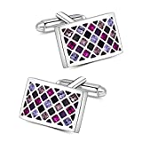 Mr.Van Elegant Swarovski Crystal Cufflinks Purple Groovy Green Glimmering Cuff Links Set Wedding for Men
