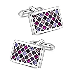 Purple Groovy Green Swarovski Crystal Cuff Links