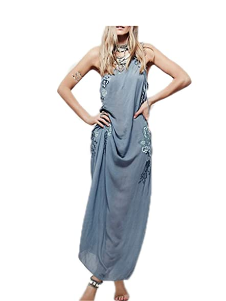 Paule Trevelyan NEW novo de um ombro-cinta longa dress bordado flor azul maxi dress