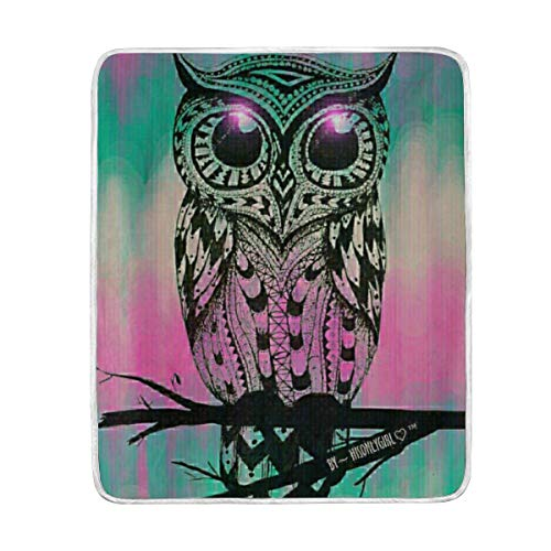 - YOHHOY Blanket Comfort Warmth Soft Cozy Air Conditioning Fleece Blanket Perfect for Couch Sofa Or Bed - Big Eyes Cute Owl Wallpaper