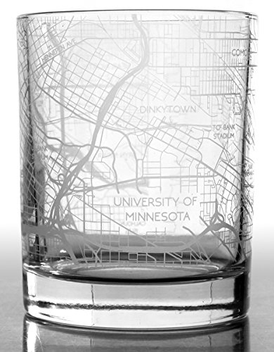 City Map Whiskey Glass by RES|SCU - Set of 2. Premium 10.5 oz Rocks Style Glassware for Fine Scotch, Bourbon and Cocktail Drinks, Unique Gifts for Men, 100% Lead-Free - - Glasses Minneapolis