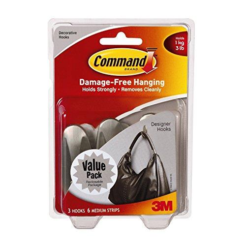 Command Medium Designer Hooks, Brushed Nickel, 18-Hook
