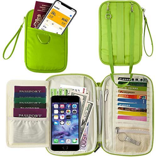 Travel Wallet Passport Holder, Travel Document Organizer Holder Bag for Family Waterproof(RFID Green) (Athena Fire)