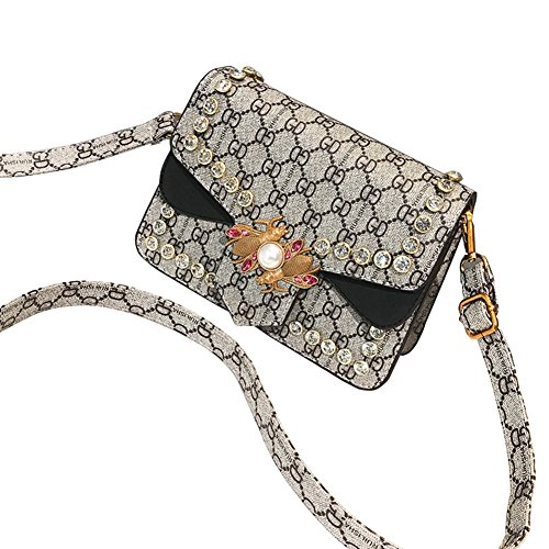 GD Women's Handbag Bee Shoulder Chain Bag Pearl Rhinestone Messenger Small Party Package (Black Jersey Messenger Bag)