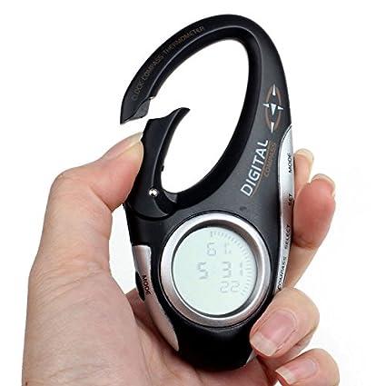 Digital brújula + termómetro clip en viajes brújula digital mosquetón con termómetro y reloj Ondoor Temperatura