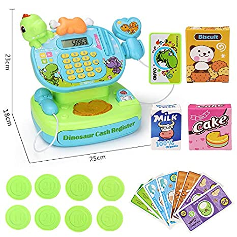Agumx_toys Kids Toy Supermarket Till, Cash Register, Shop Till (Green)