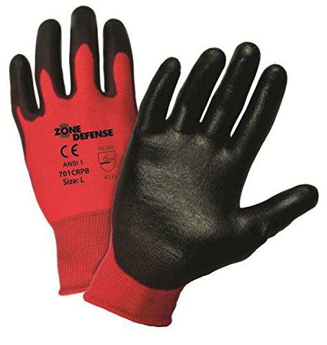 701CRPB/S Zone Defense Black Polyurethane Palm Work Glove (15 Pairs)