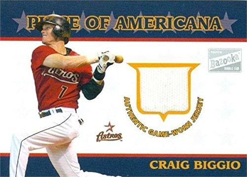 - Craig Biggio player worn jersey patch baseball card (Houston Astros) 2003 Topps Bazooka Americana #PA-CB