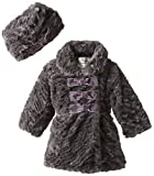 Widgeon Baby-Girls Infant 3 Bow Faux Fur Coat and Hat Set, Textured Wave Grey, 9 Months