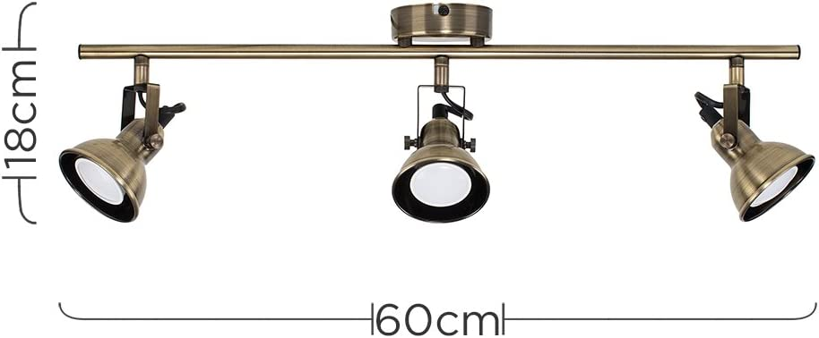 6500K Cool White Modern 3 Way Adjustable Domed Heads Straight Bar Ceiling Spotlight in an Antique Brass Finish Complete with MiniSun 5w GU10 LED Bulbs