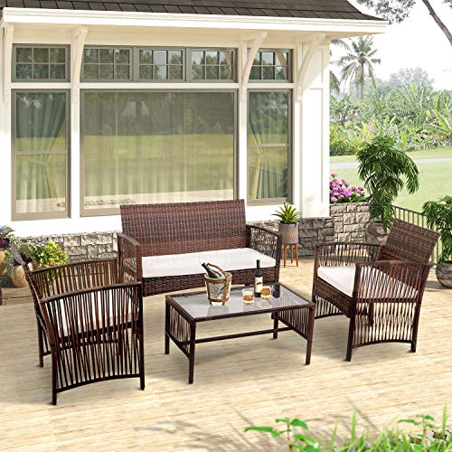 Merax 4-Piece Patio Furniture Set Outdoor Garden Lawn Pool Rattan Sofa Wicker Conversation Set Coffee Table Bistro Sets with Weather Resistant Cushions (Brown)