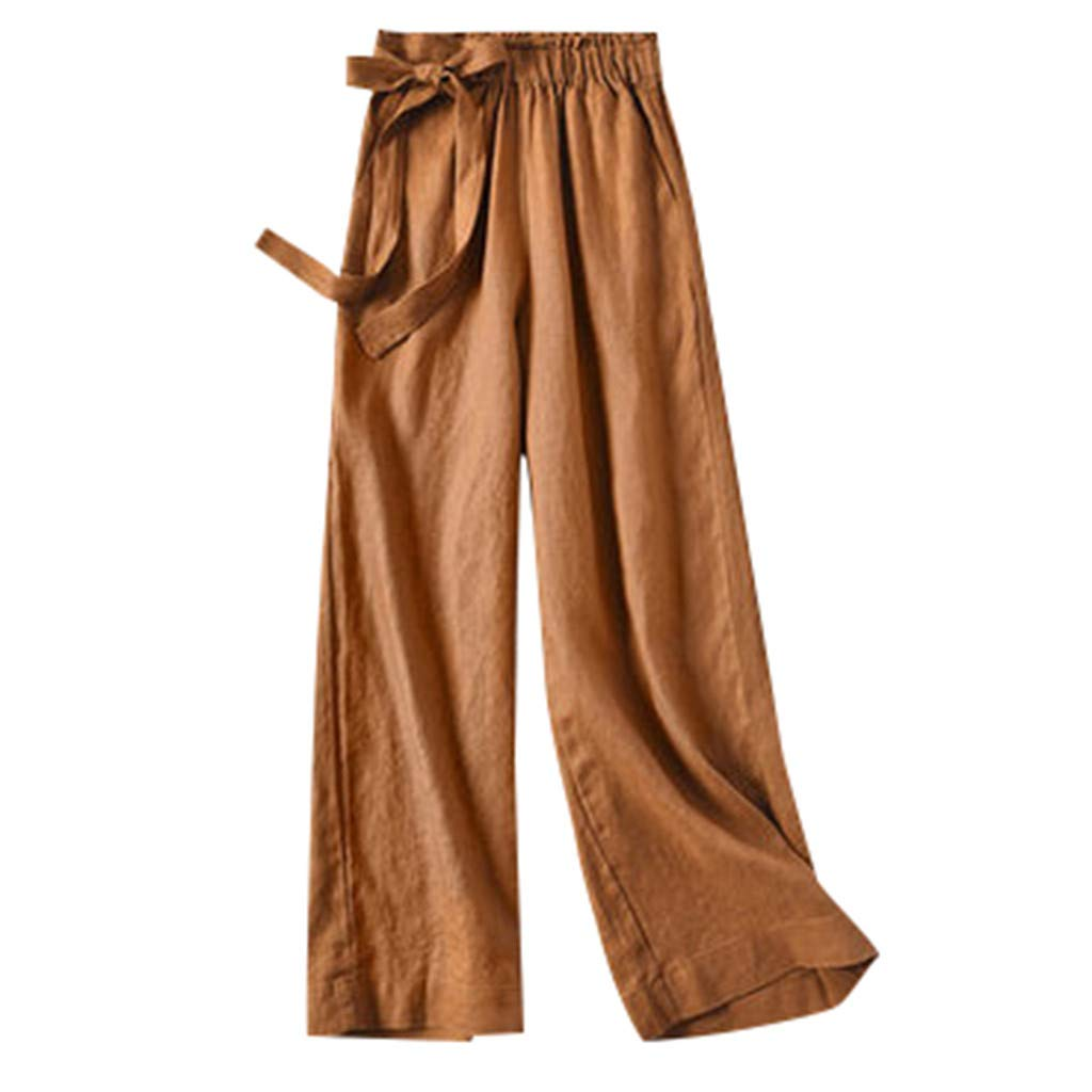 ZOMUSAR 2019 Pants for Lady, Casual Womens Elastic Waist Cropped Trousers Bottoms Sports Wear Pants Brown