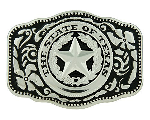 Seal Buckle (RIDE AWAY The State Of Texas Texas Seal Logo Western Belt Buckle (Black Silver Rectangle ))