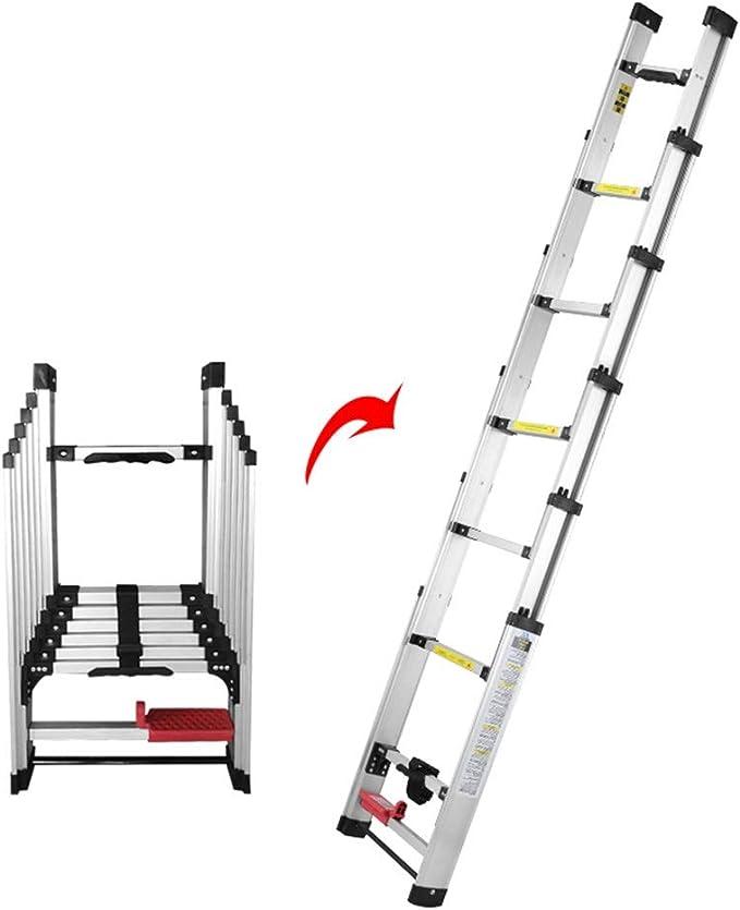Escalera extensible Escalera telescópica Mighty Telescoping Ladde - Escaleras de extensión plegables de aluminio de varias posiciones para uso industrial en emergencias domésticas, 150 kg, 2.24-5.24m: Amazon.es: Hogar