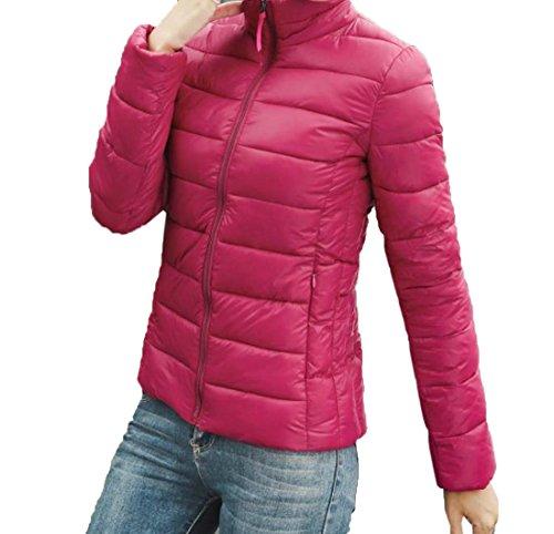 EKU Women's Solid Stand Collar Zipper Pocket Down Coats Jacket 2XL Wine Red