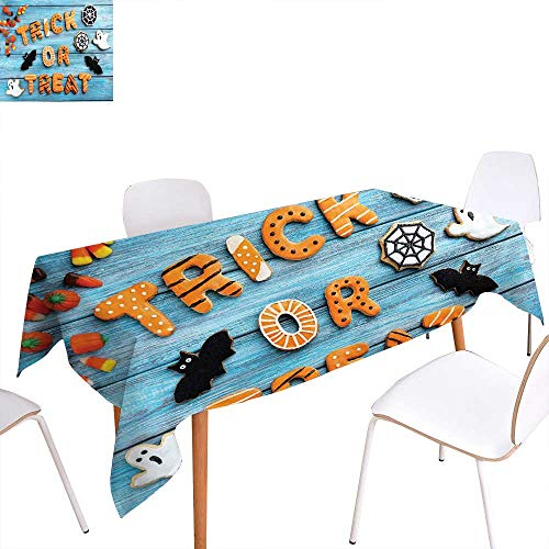 familytaste Vintage Halloween Rectangular Tablecloth Trick or Treat Cookie Wooden Table Ghost Bat Web Halloween Oblong Wrinkle Resistant Tablecloth 60