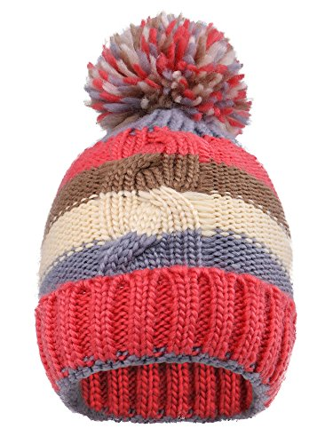 Arctic Paw Kids' Super Chunky Striped Knit Beanie with Yarn Pompom Cap,Red Striped 2