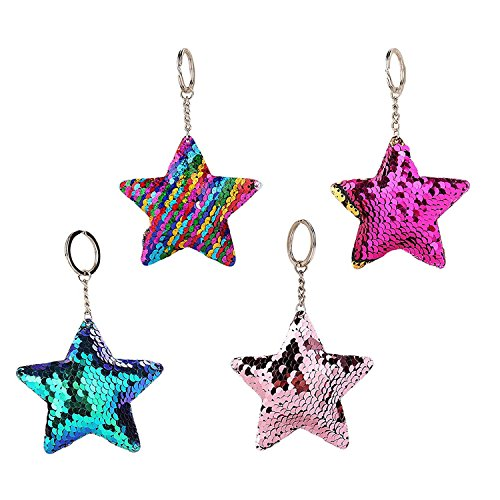 (ISKYBOB Set of 4 Star Shaped Glitter Sequins Charm Keychain Bag Hanging Decoration Key Ring)