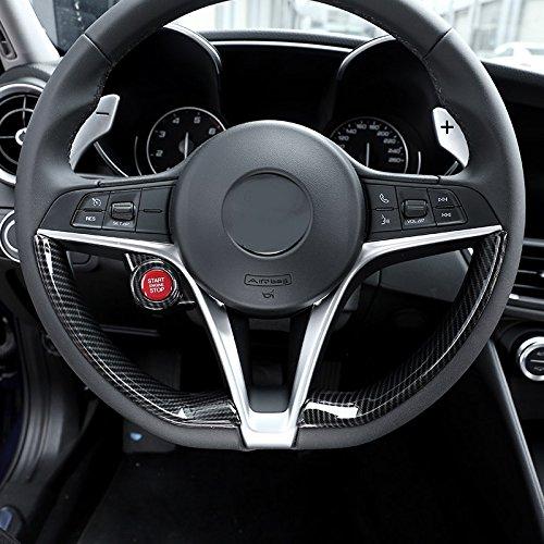 Semoic Carbon Fiber Style For Alfa Romeo Giulia Stelvio 2017 Abs Matte Chrome Interior Start Engine Stop Cover Trim Car Accessories