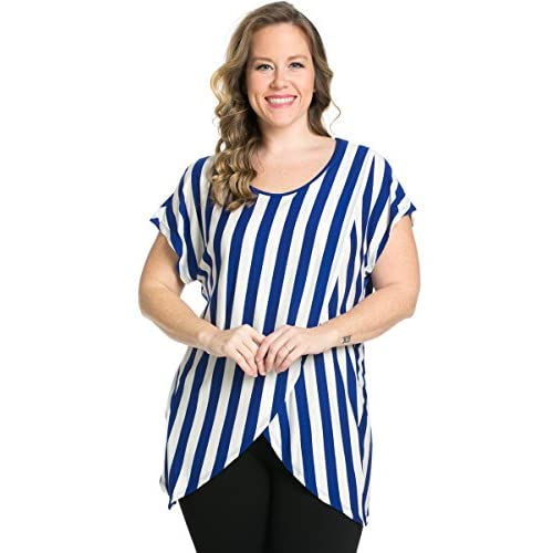 93f6f60d48207a 50%OFF My Yuccie Women s Scoopneck Stripe Blouses Cross Tops with Overlay  Hem Plus Size