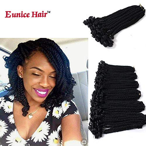 Eunice 6 Packs 12 Inch Black Crochet Hair Braids Short Havana Mambo Twist Crochet Braiding Hair Senegalese Twists Hairstyles For Black Women 20 Strands/Pack (#1B) (Best Hair For Box Braids With Loose Ends)
