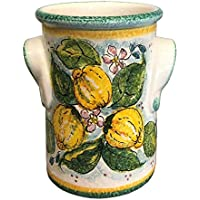 CERAMICHE D'ARTE PARRINI- Italian Ceramic Utensil Holder Wine Bottle Hand Painted Made in ITALY Decorated Lemons Tuscan Art Pottery