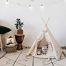 Luxury Pompon Pet Teepee House - 28 Inch Beige Elegant Cat Dog Puppy Snuggle Canvas Tent Bed Furniture with Cushion By Wonder Space