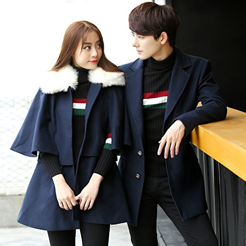 Xuanku Jacket 5169 Couple Winter Fall Winter Women'S sapphire Wool Coat Big The blue Yards Collections Autumn Cloak Windbreaker Is A rrxdnCa1