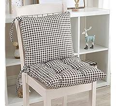 KongEU - Cojín para Silla de jardín, Asiento de Oficina para sillas de Respaldo bajo, Almohadilla de Asiento y Respaldo de Espuma Suave, Desmontable ...