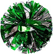 Bstgifts 2 Pack Cheerleading Pompoms, Metallic Foil & Plastic Ring Pom Poms for Cheer, Dance