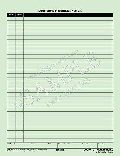 Briggs Healthcare Doctors Progress Notes Form, 8 1/2