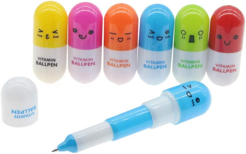 Materiali 6PcsTelescopic Ballpen novit/à Penna a Sfera Penna a Sfera della Capsula della vitamina Zakka Ufficio Accessori per la Scuola