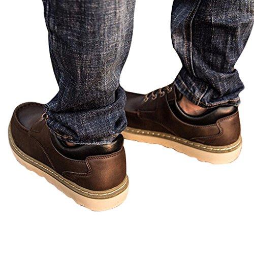 Caro Tempo Gli Uomini Allacciano Le Scarpe Di Cuoio Foderate Marrone