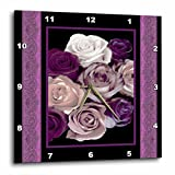 3dRose dpp_29798_3 Dreamy Hues of Purple and Pink Roses with Purple Damask Ribbon Trim-Wall Clock, 15 by 15-Inch For Sale