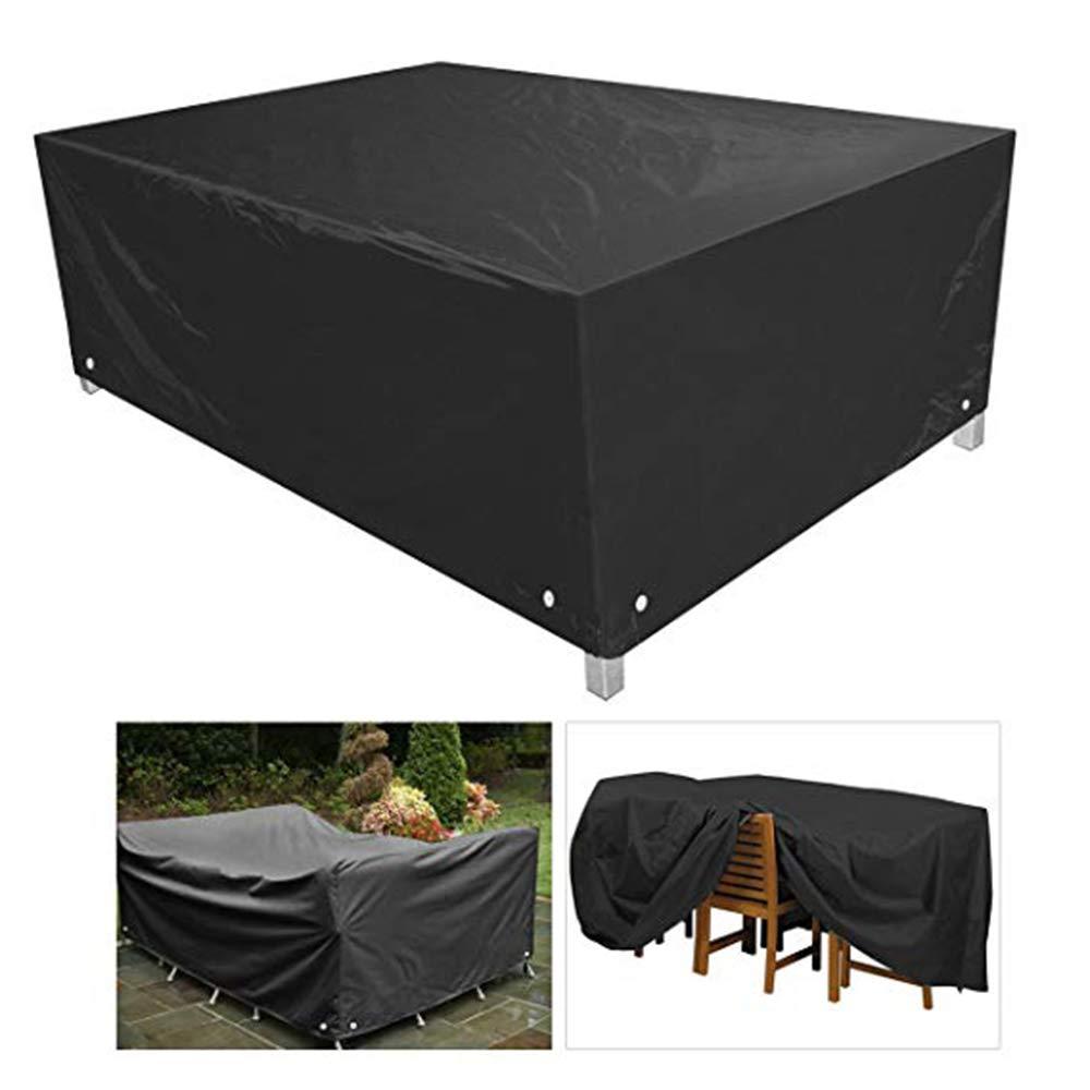 Furniture Cover Protective Cover, Outdoor Garden Furniture Dust Cover, Suitable for Tables, Chairs, Sofas 210D Oxford Cloth Black,Black,315 * 160 * 74cm