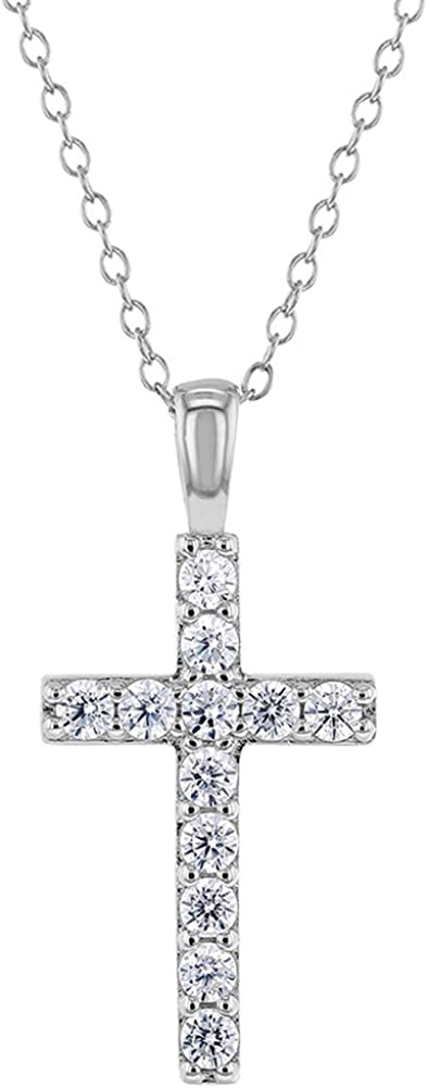 Cubic Zirconia 925 Sterling Silver CZ Relgious Cross Pendant