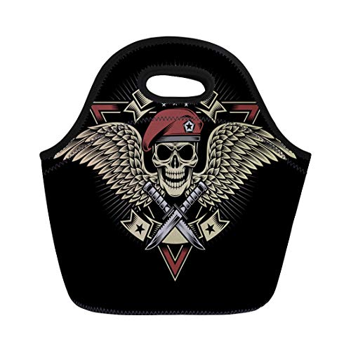 (Semtomn Neoprene Lunch Tote Bag Tattoo Military Skull Wings and Daggers Patch Beret Crest Reusable Cooler Bags Insulated Thermal Picnic Handbag for Travel,School,Outdoors, Work)
