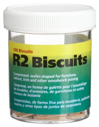 wolfcraft 2994404 Compressed Wafer Shaped Wood Joining Biscuits for Joining Wood Pieces, #R2, 100 Piece Jar (Biscuit R3)