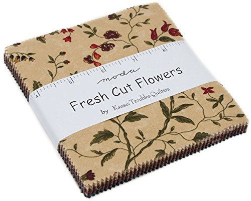 Fresh Cut Flowers Charm Pack By Kansas Troubles Quilters; 42-5'' Precut Fabric Quilt Squares by MODA