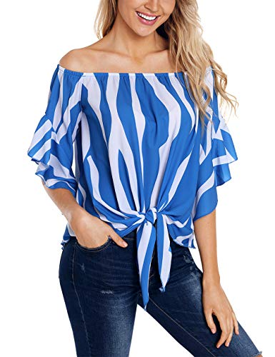 RSM &CHENG Women's Striped Off Shoulder Bell Sleeve Shirt Tie Knot Casual Blouses Tops(Stripe Blue,S)